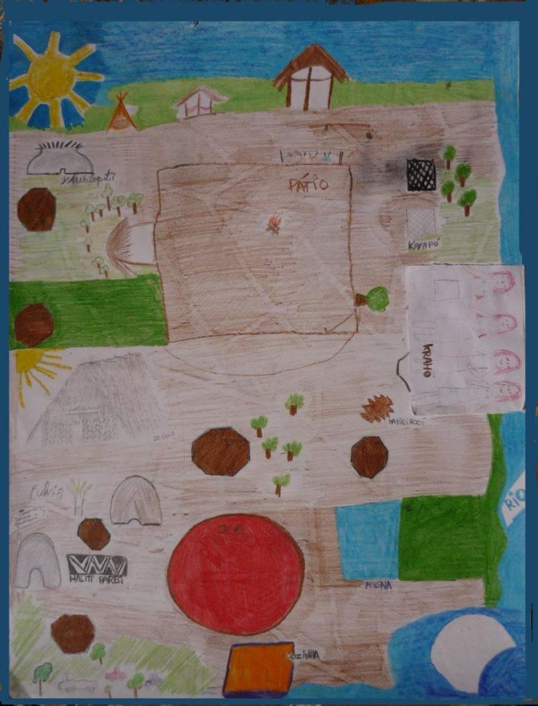 Mapa da IV Aldeia Multiétnica, com detalhes feitos pelos próprios indígenas auxíliados por Tadzia Maya